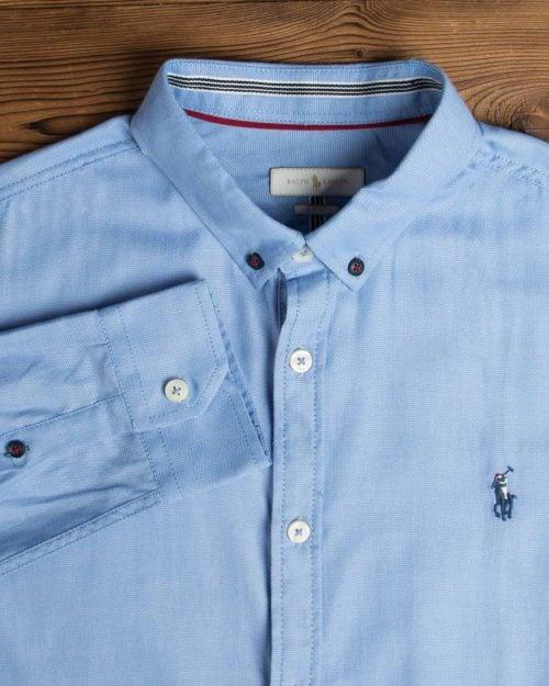 پیراهن آستین بلند آبی روشن مردانه