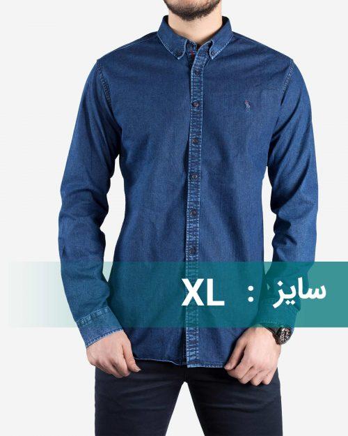 پیراهن جین آبی تیره مردانه-سایز XL