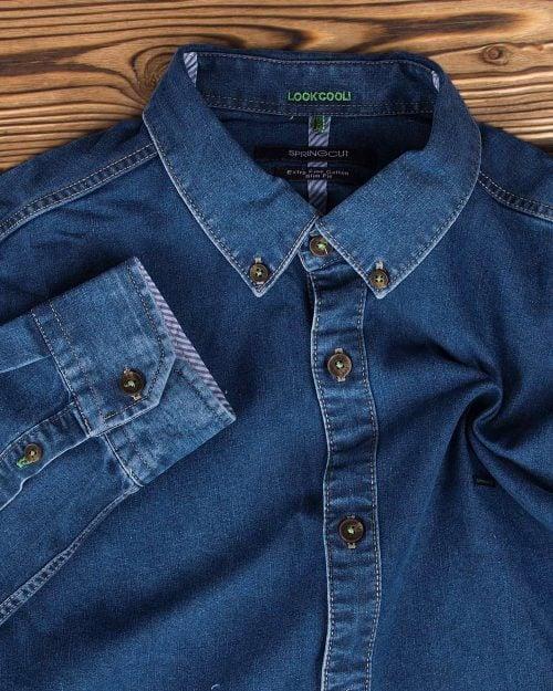 پیراهن جین مردانه آستین بلند - آبی نفتی - یقه مردانه و دکمه