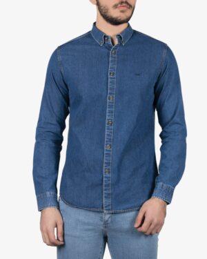 پیراهن جین مردانه آستین بلند - آبی نفتی - روبهرو