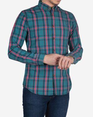 پیراهن چارخونه سبز آبی مردانه - کله غازی - یقه