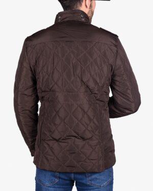 کاپشن کوتاه چهار جیب مردانه - قهوه ای تیره - پشت
