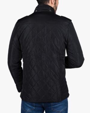 کاپشن کوتاه چهار جیب مردانه - مشکی - پشت