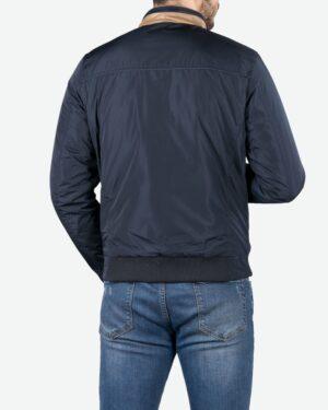 کاپشن مردانه کوتاه یقه ایستاده - سرمه ای - پشت