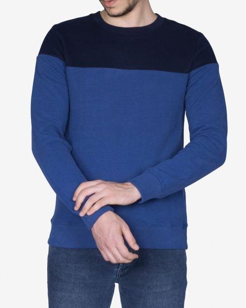 پلیور مردانه یقه گرد دورنگ - آبی تیره - روبهرو - خرید اینترنتی لباس - فروشگاه اینترنتی لباس سارابارا