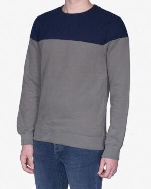 پلیور مردانه یقه گرد دورنگ - خاکستری - روبهرو - خرید اینترنتی لباس - فروشگاه اینترنتی لباس سارابارا