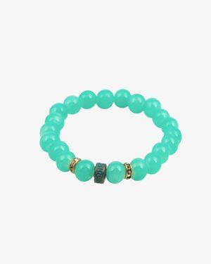 دستبند زنانه سبز آبی مهره طلایی نگین دار - آبی فیروزه ای - جلو