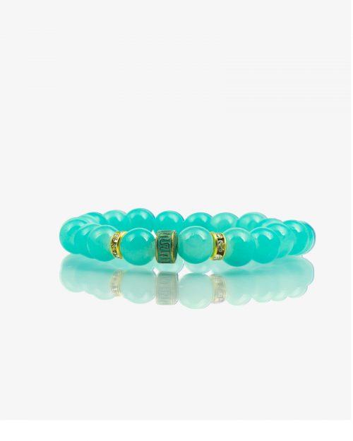 دستبند زنانه سبز آبی مهره طلایی نگین دار - آبی فیروزه ای - رو به رو