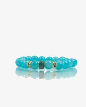 دستبند زنانه سبز آبی مهره طلایی نگین دار کشی دخترانه - سبز آبی - رو به رو