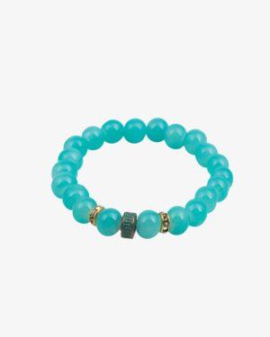 دستبند زنانه سبز آبی مهره طلایی نگین دار کشی دخترانه - سبز آبی - مایل
