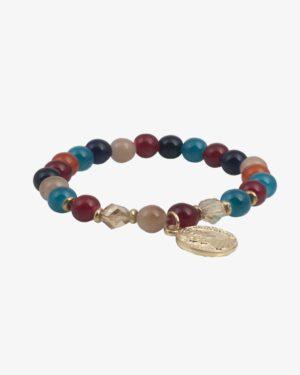 دستبند کشی مرواریدی مکعب رنگی سکهدار - مایل