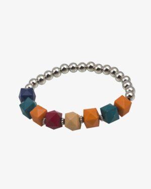 دستبند کشی مرواریدی مکعب رنگی - مایل