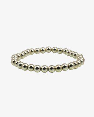 دستبند کشی مرواریدی نقرهای طلایی ساده - مایل