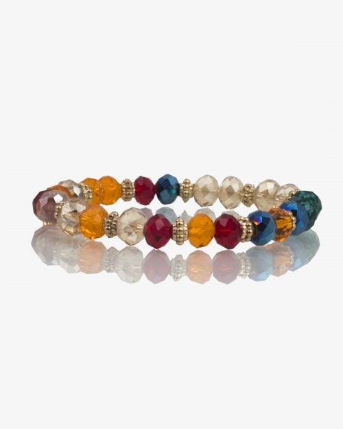 دستبند کشی مروارید رنگی طرح شیشه - روبهرو