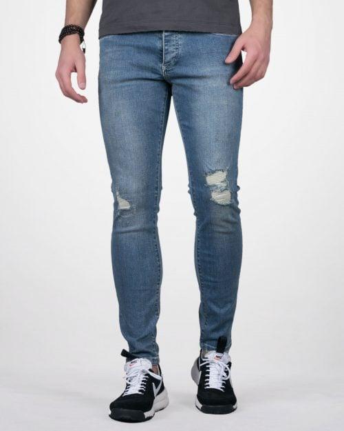 شلوار جین مردانه جذب زاپ دار - آبی - رو به رو