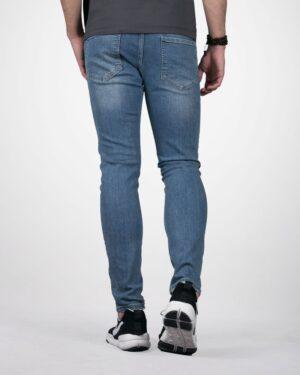 شلوار جین مردانه جذب زاپ دار - آبی - پشت