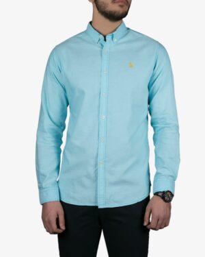پیراهن مردانه آستین بلند آبی روشن - آبی آسمانی - رو به رو
