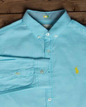 پیراهن مردانه آستین بلند آبی روشن - آبی آسمانی - - یقه مردانه