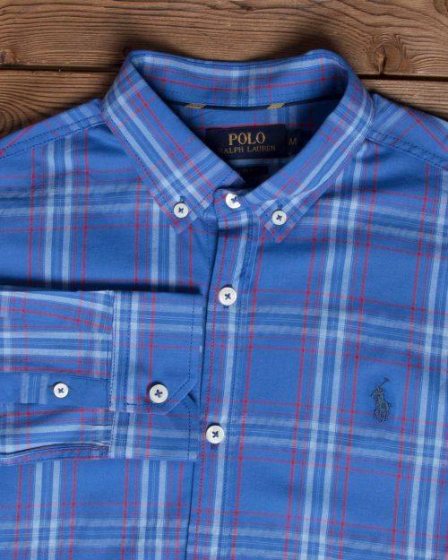 پیراهن آستین بلند آبی نفتی چارخونه- یقه