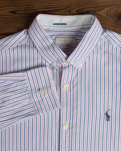 پیراهن آستین بلند راه راه مردانه سفید با خطوط صورتی آبی -صورتی روشن - یقه