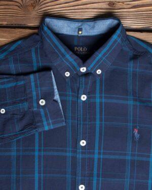 پیراهن آستین بلند سرمه ای چهارخانه - سرمه ای - یقه