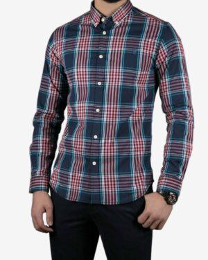 پیراهن آستین بلند سرمه ای چهارخونه مردانه - سرمه ای - رو به رو