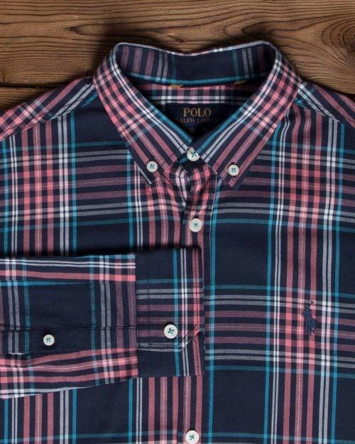 پیراهن آستین بلند سرمه ای چهارخونه مردانه - سرمه ای - یقه