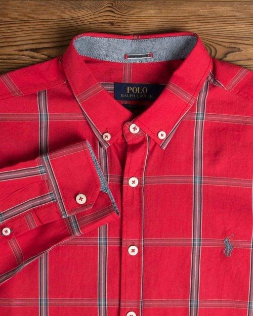 پیراهن آستین بلند قرمز چارخونه- یقه آستین