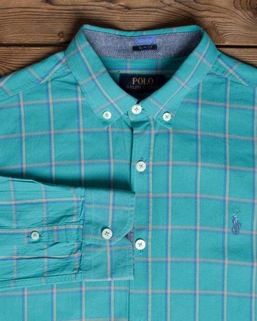 پیراهن آستین بلند چهارخانه مردانه - سبزآبی روشن - یقه