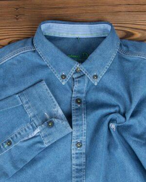 پیراهن جین مردانه آبی کم رنگ - آبی نیلی - یقه مردانه