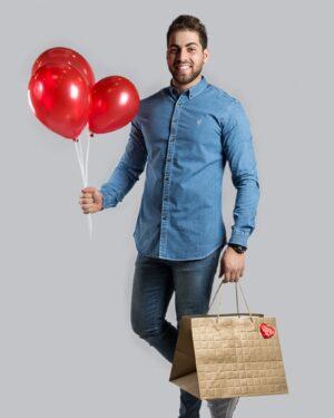 پیراهن جین مردانه آبی کم رنگ - آبی نیلی - محیطی