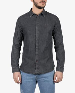 پیراهن جین خاکستری تیره مردانه - خاکستری تیره - رو به رو
