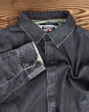 پیراهن جین خاکستری تیره مردانه - یقه