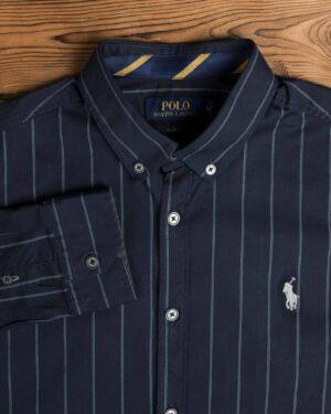 پیراهن مردانه آستین بلند سرمه ای راه راه - سرمه ای - یقه
