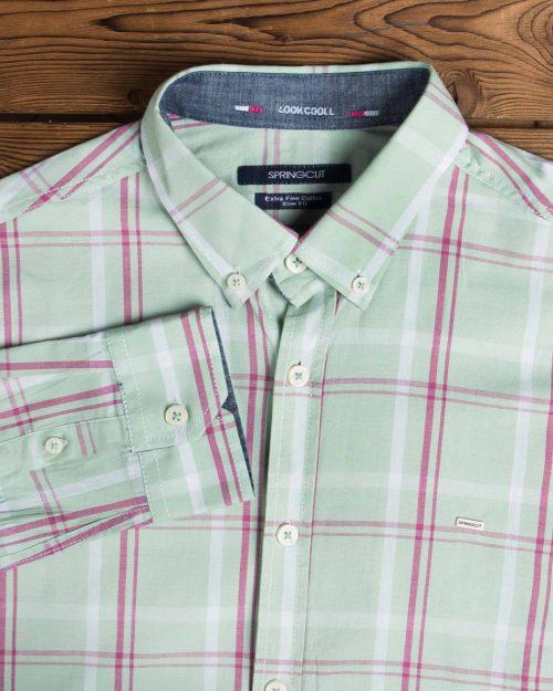 پیراهن مردانه آستین بلند چهارخانه - سبز پاستیلی - یقه مردانه