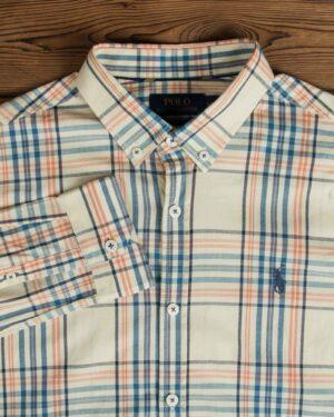 پیراهن مردانه آستین بلند چهارخونه - نخودی - یقه مردانه
