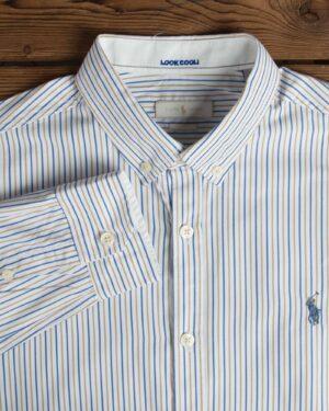 پیراهن مردانه راه راه سفید آستین بلند با خطوط آبی خردلی - خردلی - یقه