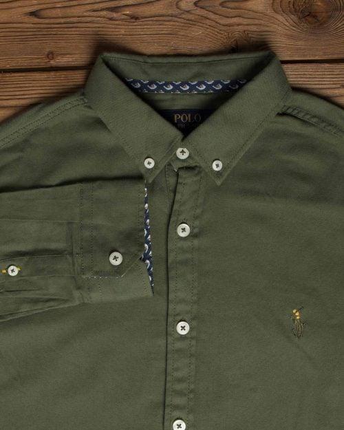 پیراهن مردانه ساده آستین بلند - یشمی - یقه مردانه