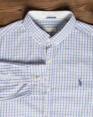 پیراهن چهارخانه ریز مردانه آستین بلند سفید - سفید - یقه