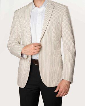 کت تک مردانه مجلسی راه راه - کرمی رنگ - رو به رو