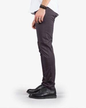 شلوار کتان مردانه چسبان جذب - خاکستری تیره - بغل
