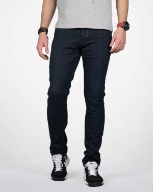 شلوار جین راسته سرمه ای تیره مردانه - سرمه ای - رو به رو