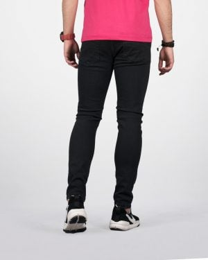 شلوار جین مشکی جذب ساده - مشکی - پشت