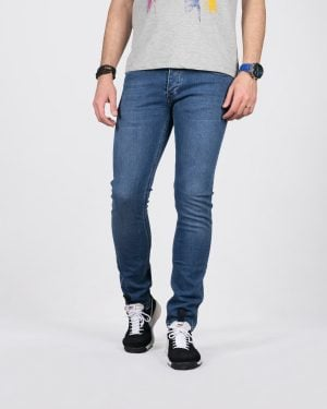 شلوار جین مردانه ساده راسته - آبی - رو به رو