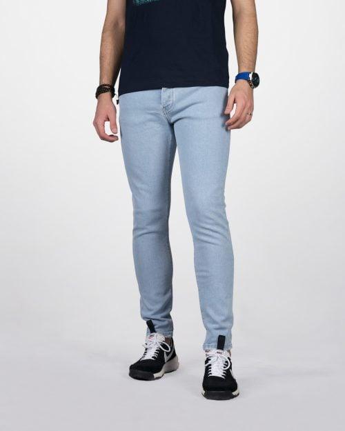 شلوار جین جذب مردانه - آبی یخی - رو به رو