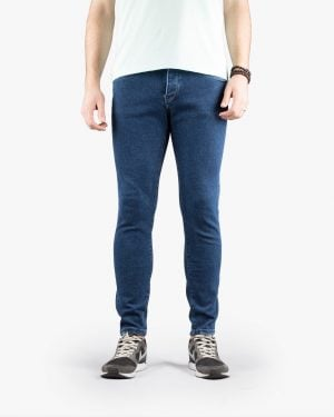 شلوار جین جذب مردانه - آبی نفتی - رو به رو