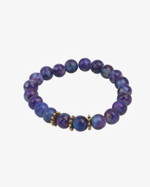دستبند مرواریدی بنفش با مهره طلایی - بنفش - مایل