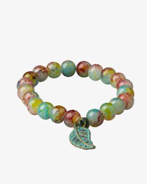 دستبند رنگی دخترانه پلاک دار طرح برگ - چند رنگ - مایل