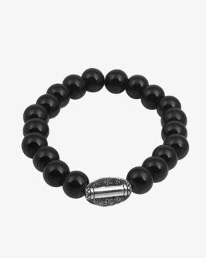 دستبند زنانه مهره ای کشی مشکی - مشکی - مایل