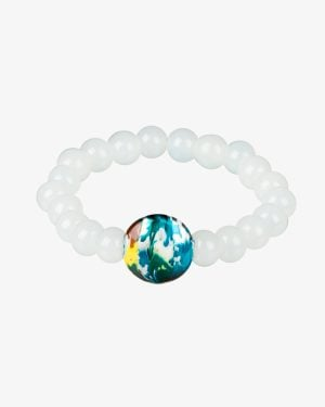 دستبند کشی مرواریدی سفید سنگ رنگی-مایل